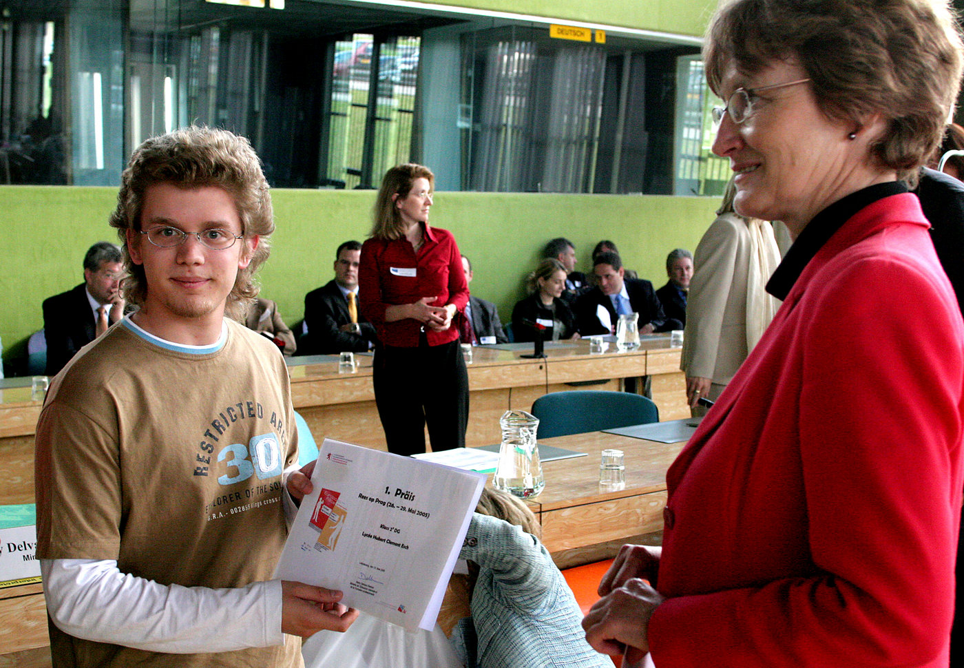 First prize awarded by the Minister for Education and Vocational Training
