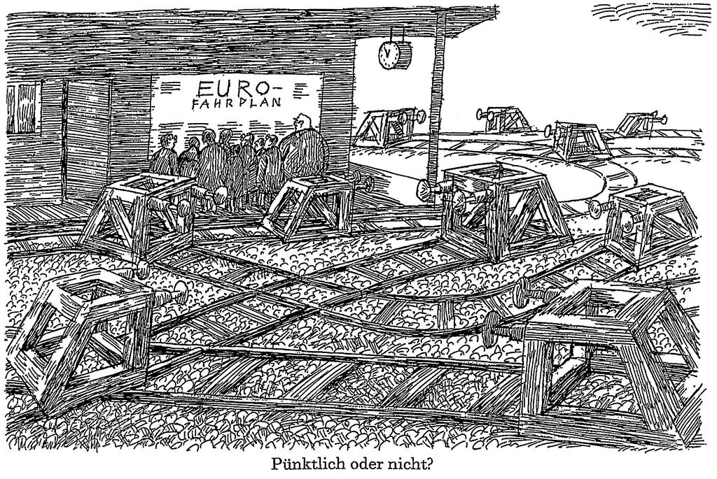 Cartoon by Murschetz on the establishment of the euro (1998)