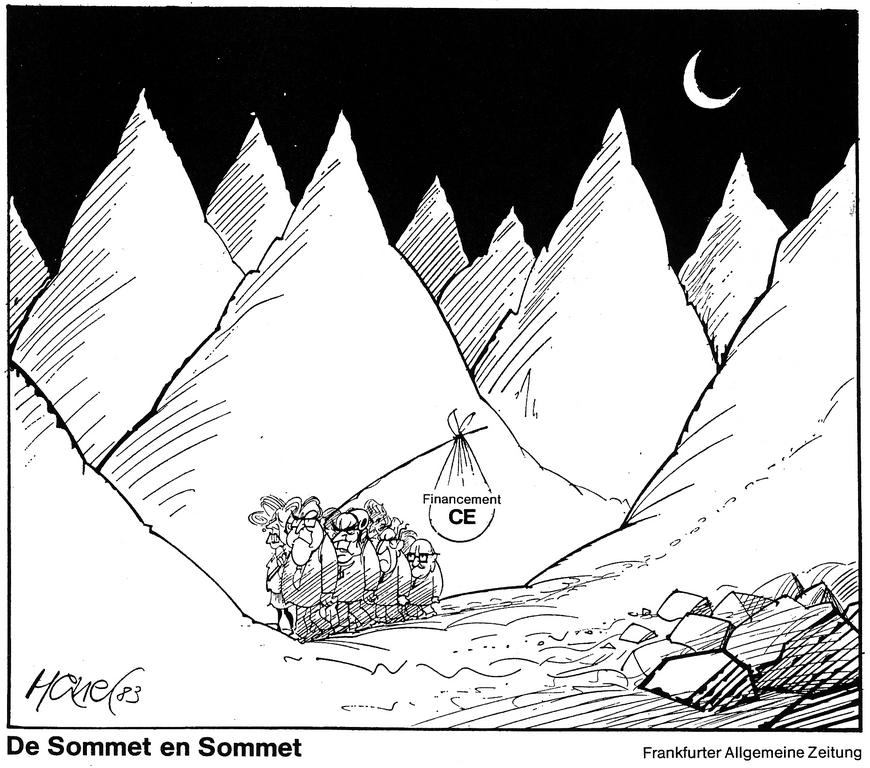 Cartoon by Hanel on the question of the Community budget (1983)