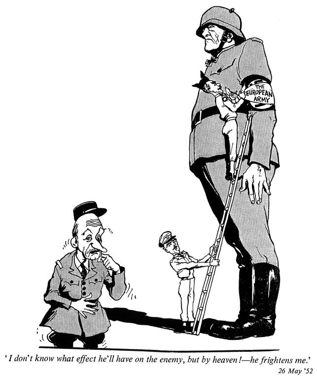 Caricature de Cummings sur la question du réarmement allemand (26 mai 1952)