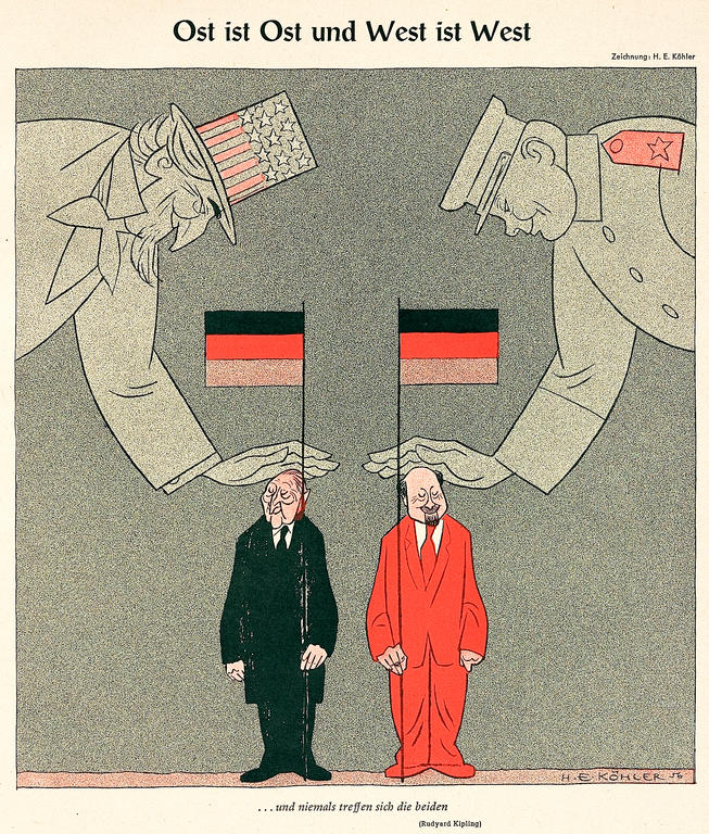 Cartoon by Köhler on relations between the FRG and the GDR (1956)