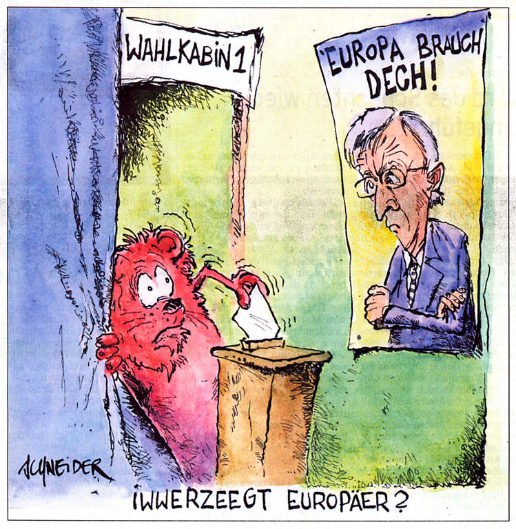 Cartoon by Schneider on the Luxembourg referendum and the European Constitution (10 July 2005)