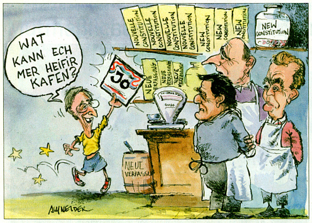 Cartoon by Schneider on the Luxembourg referendum and the European Constitution (12 July 2005)