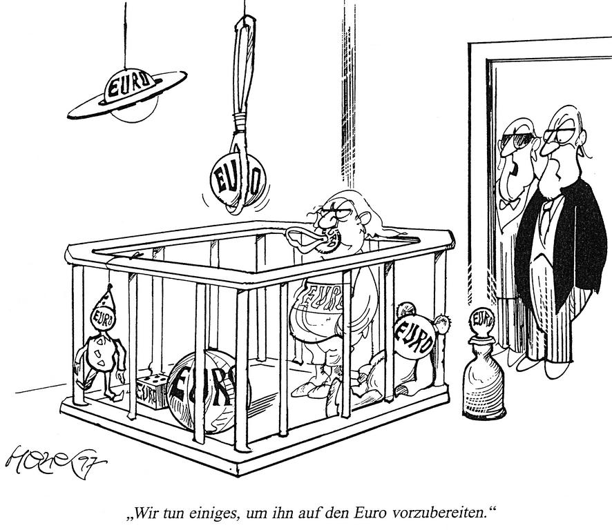 Cartoon by Hanel on Germany and the euro (1997)