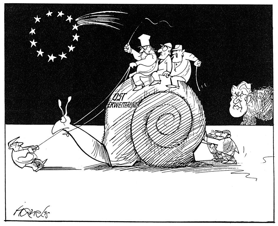 Cartoon by Hanel on the new enlargement of the EU (1995)