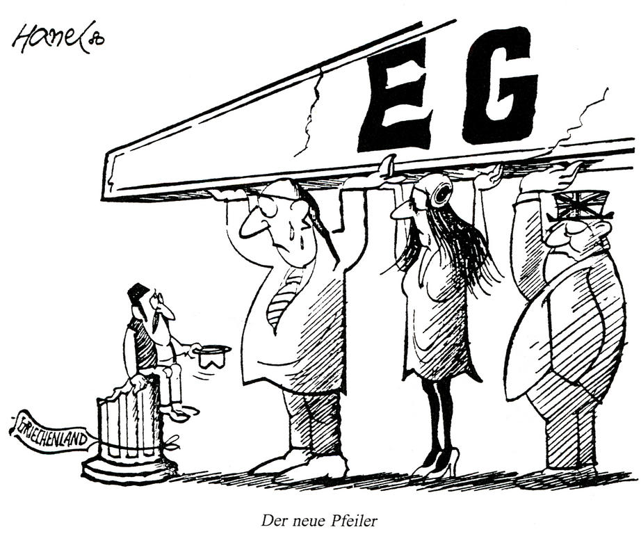 Cartoon by Hanel on Greece's accession to the European Communities (1980)