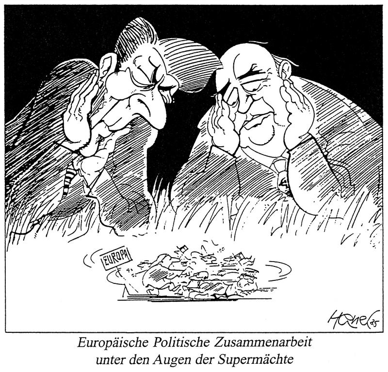 Cartoon by Hanel on European Political Cooperation (1985)