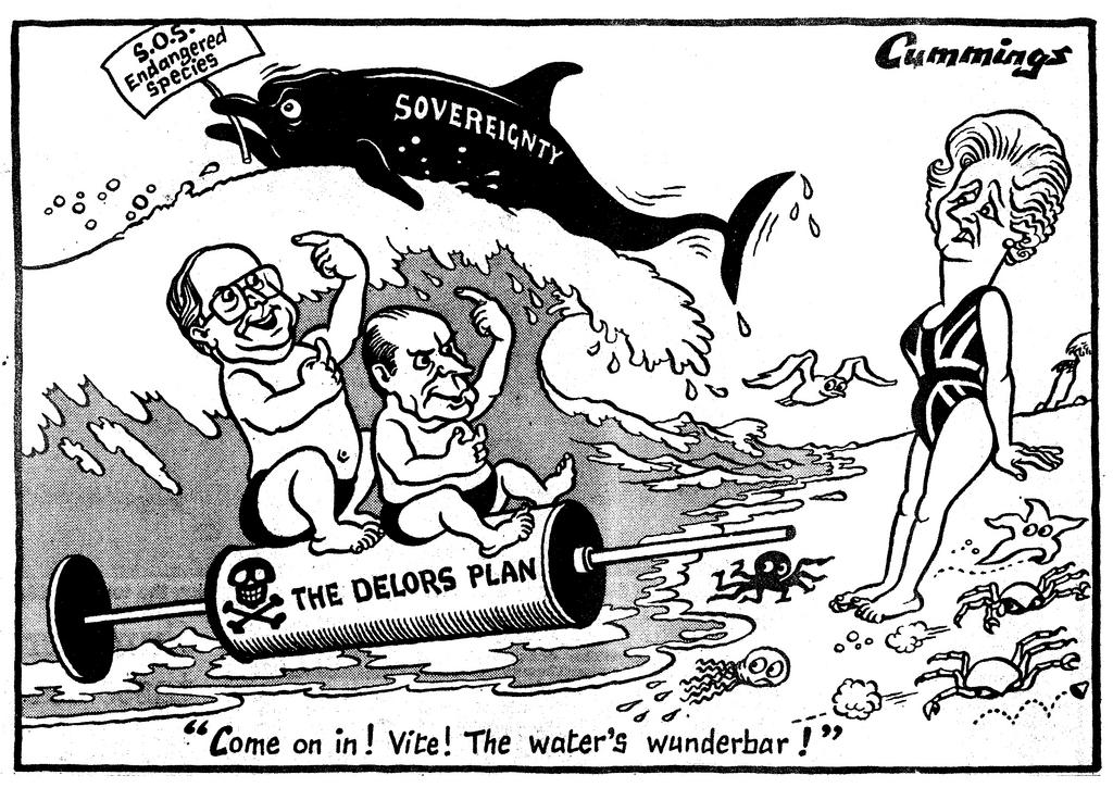 Caricature de Cummings sur le Plan Delors (28 juin 1989)