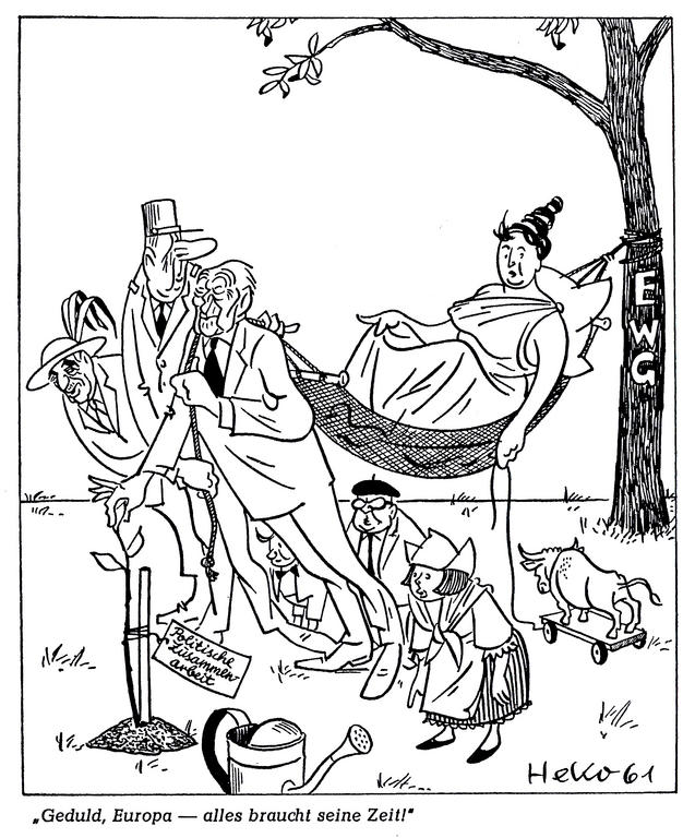 Cartoon by HeKo on the efforts of France and Germany in favour of a political Europe: the meeting of the Six in Bad Godesberg (19 July 1961)