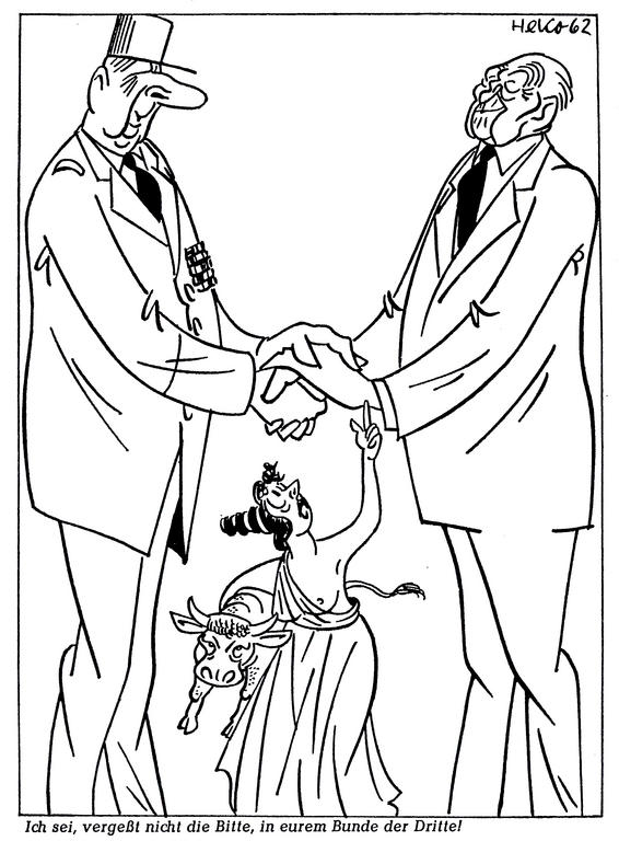Cartoon by HeKo on Franco-German rapprochement: Adenauer's visit to France (1 July 1962)
