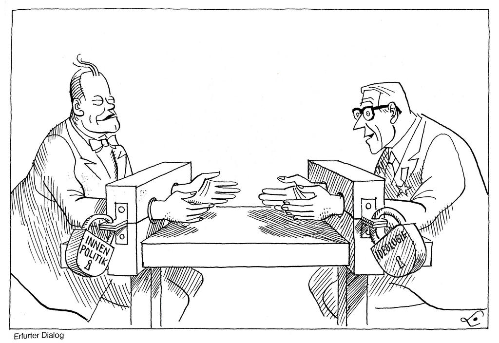 Cartoon by Lang on rapprochement between the two Germanys (21 March 1970)