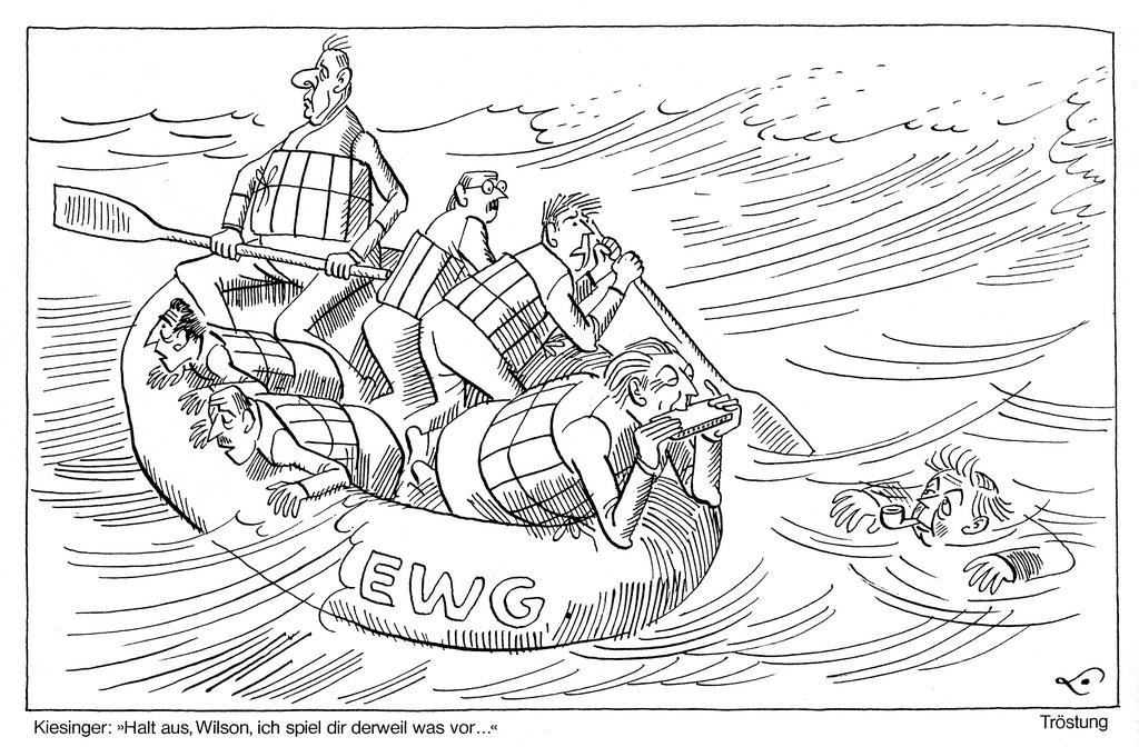 Cartoon by Lang on the United Kingdom's accession to the EC (28 October 1967)