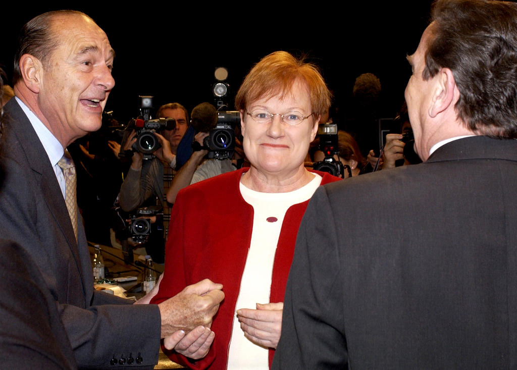 Jacques Chirac and Tarja Halonen (Copenhagen, 13 December 2002)