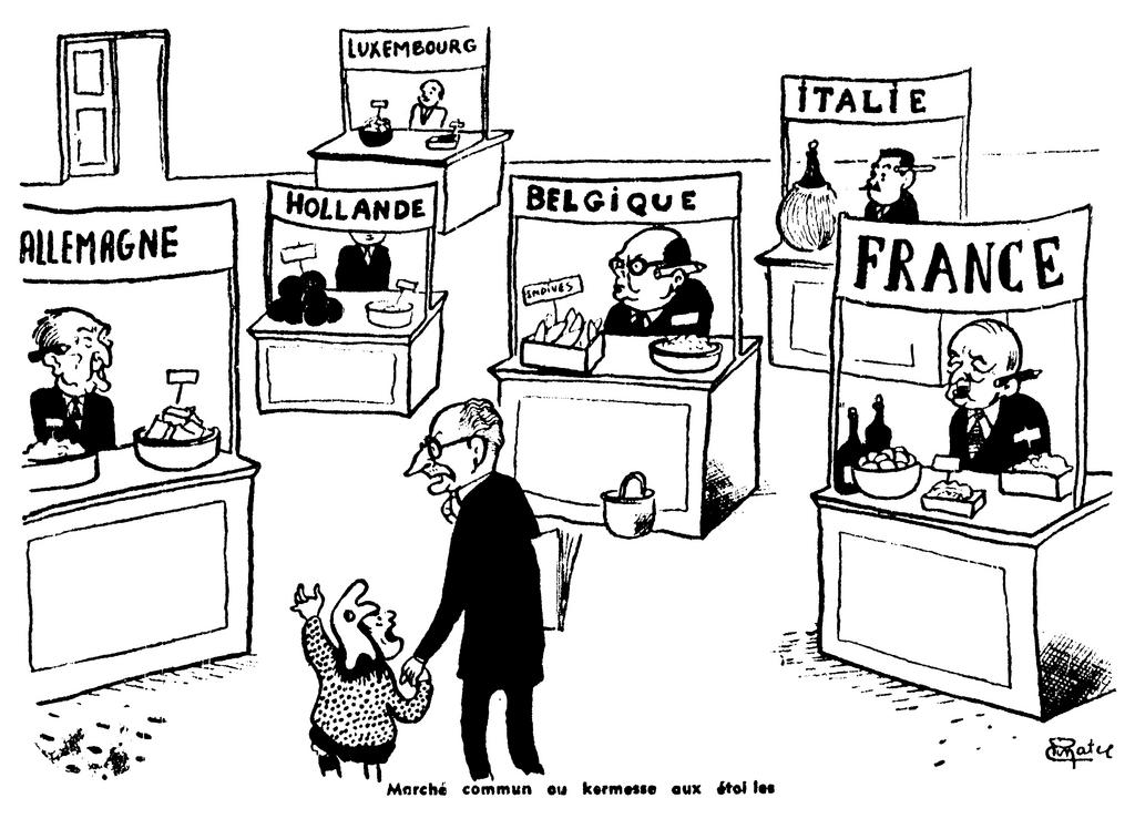 Cartoon by Pinatel on the signing of the Rome Treaties (29 March 1957)