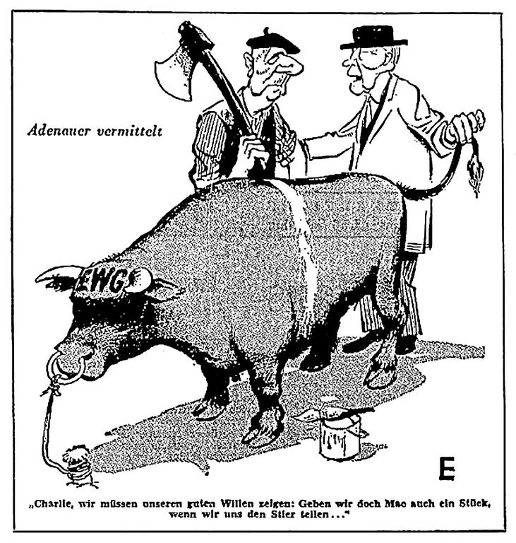 Cartoon on the reactions of France and the FRG to the prospect of the United Kingdom's accession to the European Communities (20 January 1963)