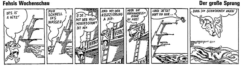 Cartoon on the signing of the Free Trade Agreements between Austria and the EEC (23 July 1972)