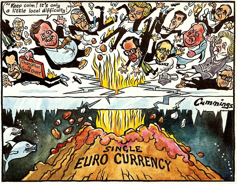 Cartoon by Cummings on the United Kingdom and the single European currency (19 October 1996)