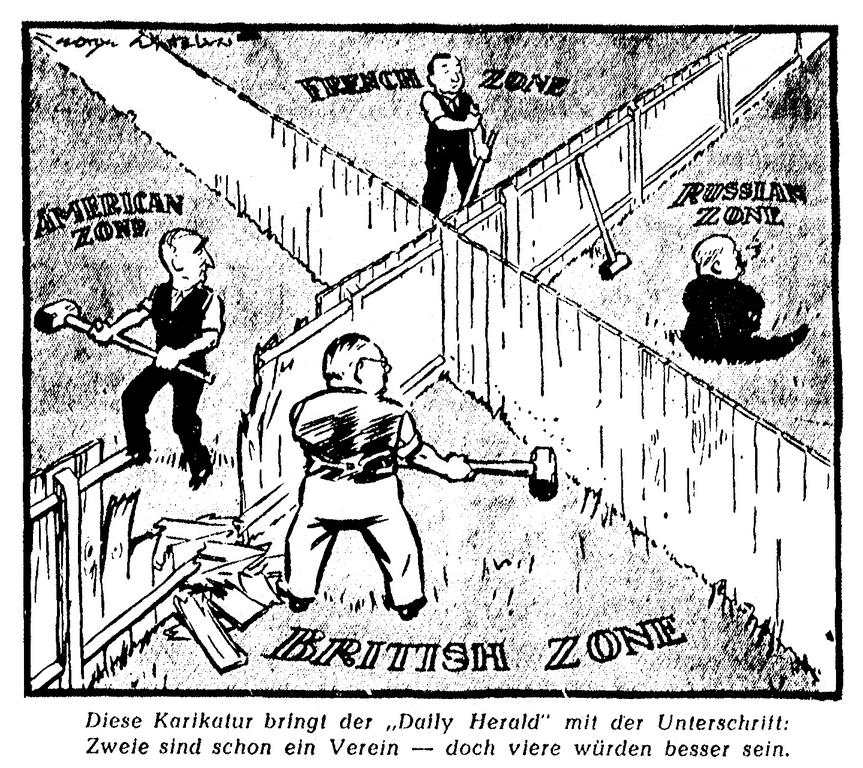 Cartoon on the merging of Germany's American and British occupation zones (2 August 1946)