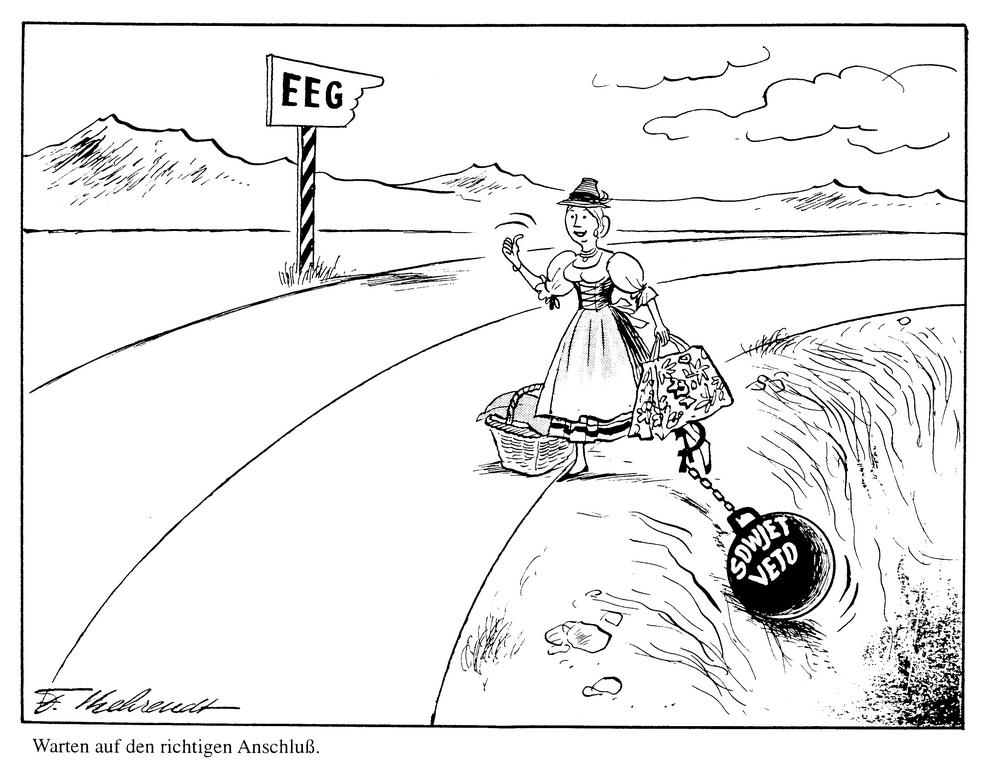 Cartoon by Behrendt on Austria's association with the EEC (1966)
