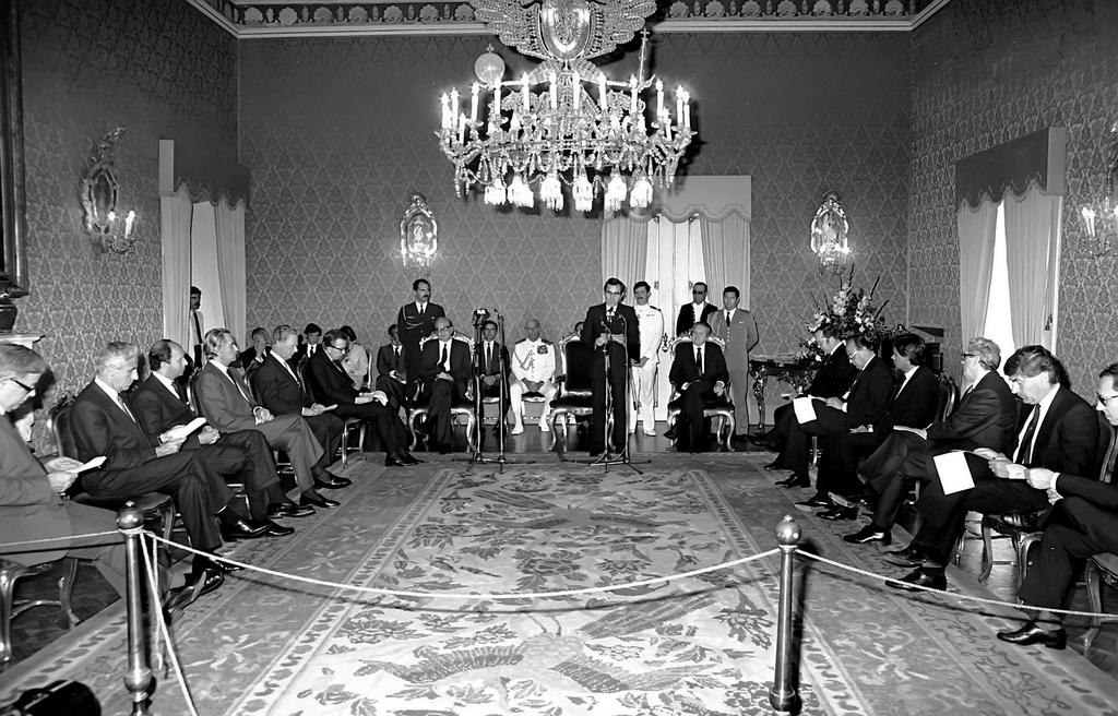 Welcome reception for the representatives of the States signatory to Portugal's Treaty of Accession to the European Communities (Lisbon, 12 June 1985)