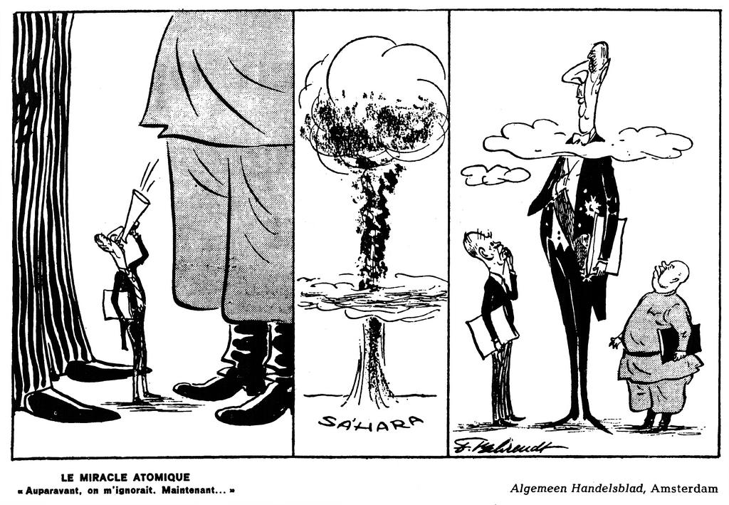Cartoon by Behrendt on the explosion of the first French atomic bomb (1960)