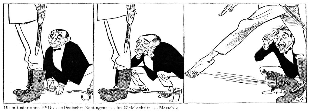 Cartoon by Lang on Pierre Mendès France and the EDC (19 August 1954)