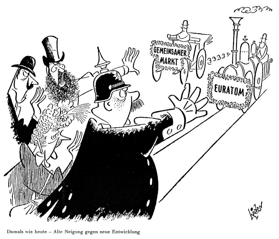 Cartoon by Hicks on the fears engendered by the Rome Treaties in Europe (28 February 1957)