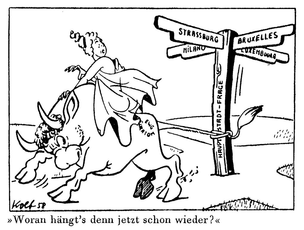 Cartoon by Kolb on the seat of the European institutions (18 January 1958)