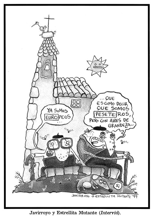 Cartoon by Javirroyo and Estrellita Mutante on Spain and the adoption of the euro (1999)