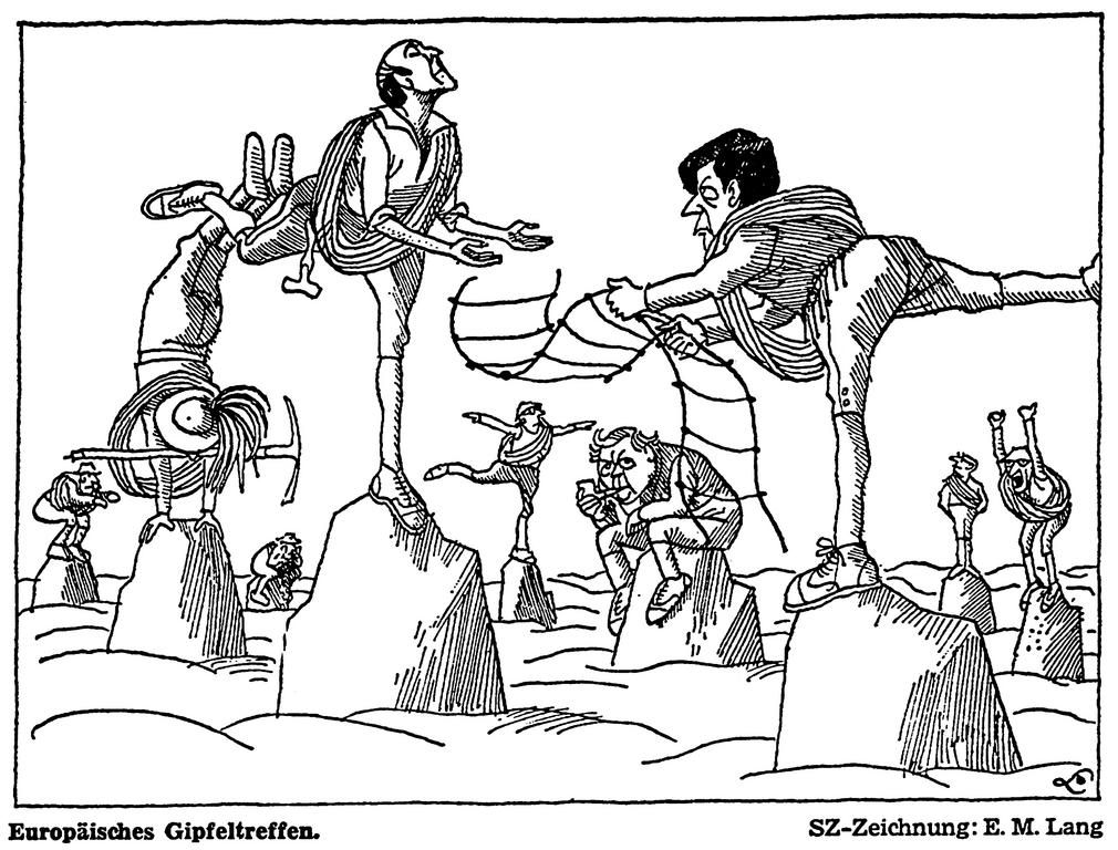 Cartoon by Lang on the Paris Summit (11 December 1974)