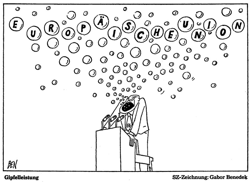 Cartoon by Benedek on the Luxembourg European Council (3 December 1985)