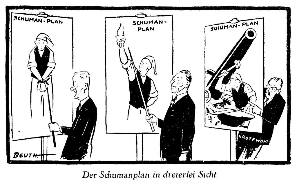 Cartoon by Beuth on the Federal Republic of Germany and the Schuman Plan (11 January 1952)