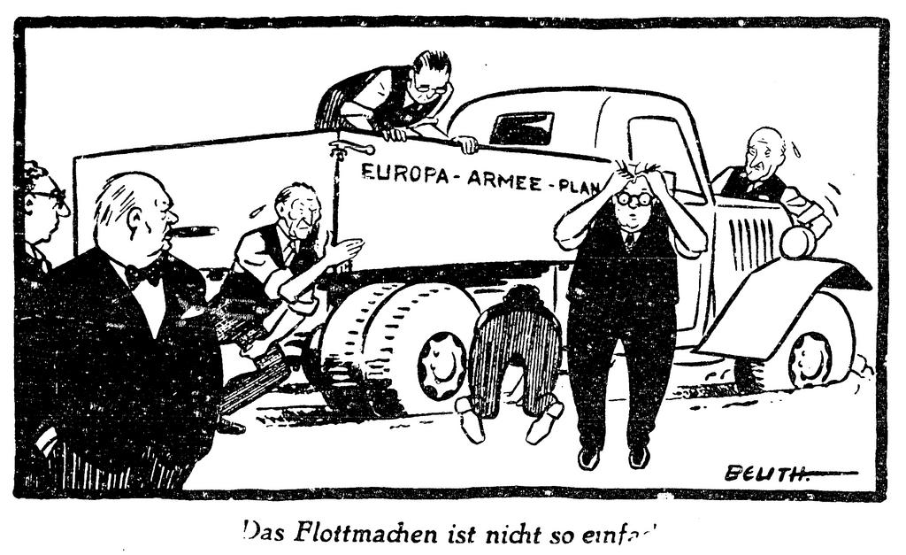 Cartoon by Beuth on the negotiations for a European army (12 December 1951)