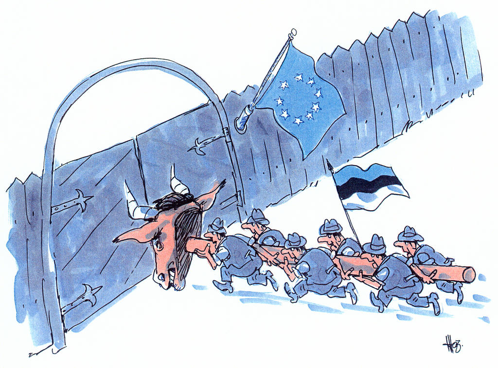 Cartoon by Hübus on Estonia's accession to the EU (2004)