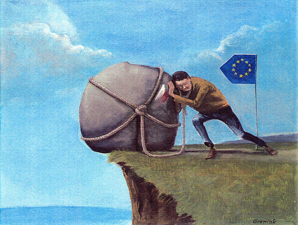 Cartoon by Graniak on Poland's accession to the EU (2004)