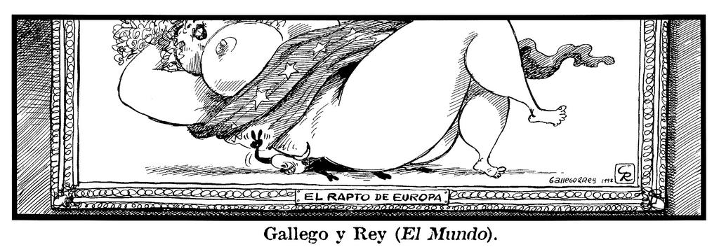 Cartoon by Gallego and Rey on 'The Abduction of Europa' (1998)