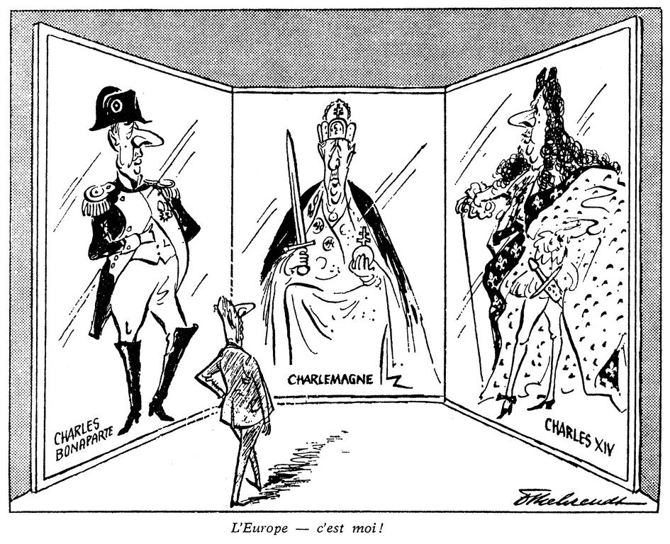 Cartoon by Behrendt on General de Gaulle and Europe (15 June 1962)