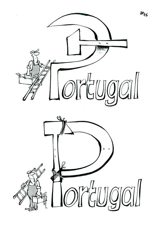 Cartoon by Haitzinger on the democratisation of Portugal (April 1976)