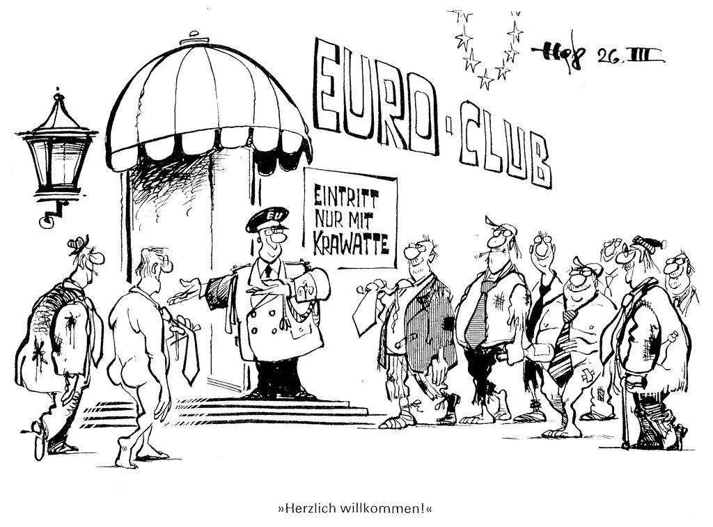 Cartoon by Haitzinger on the conditions required for the adoption of a single currency (26 March 1998)