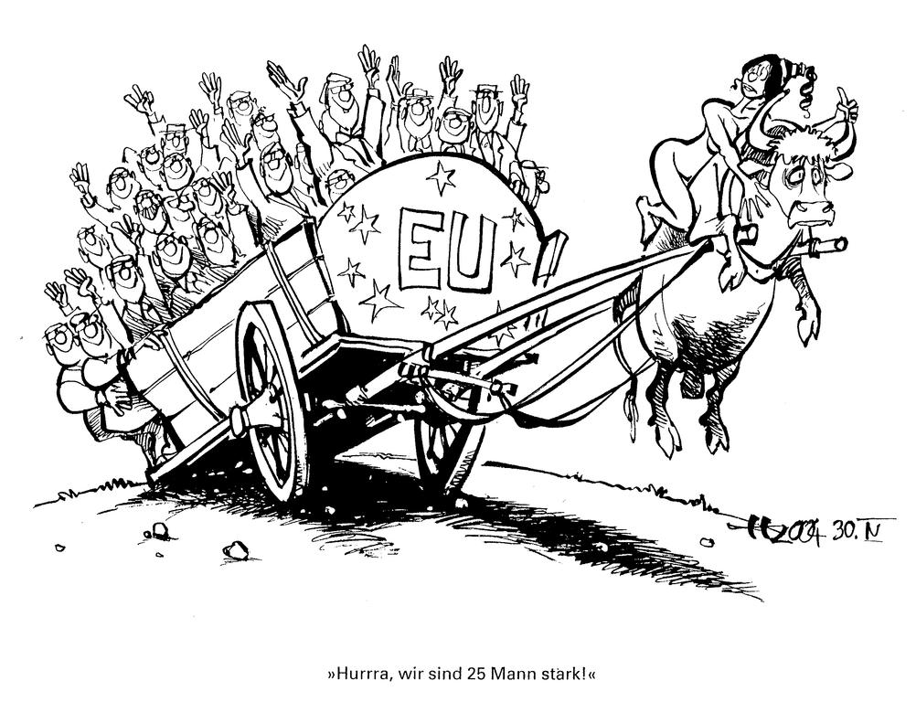 Cartoon by Haitzinger on the enlargement of the EU (30 April 2004)