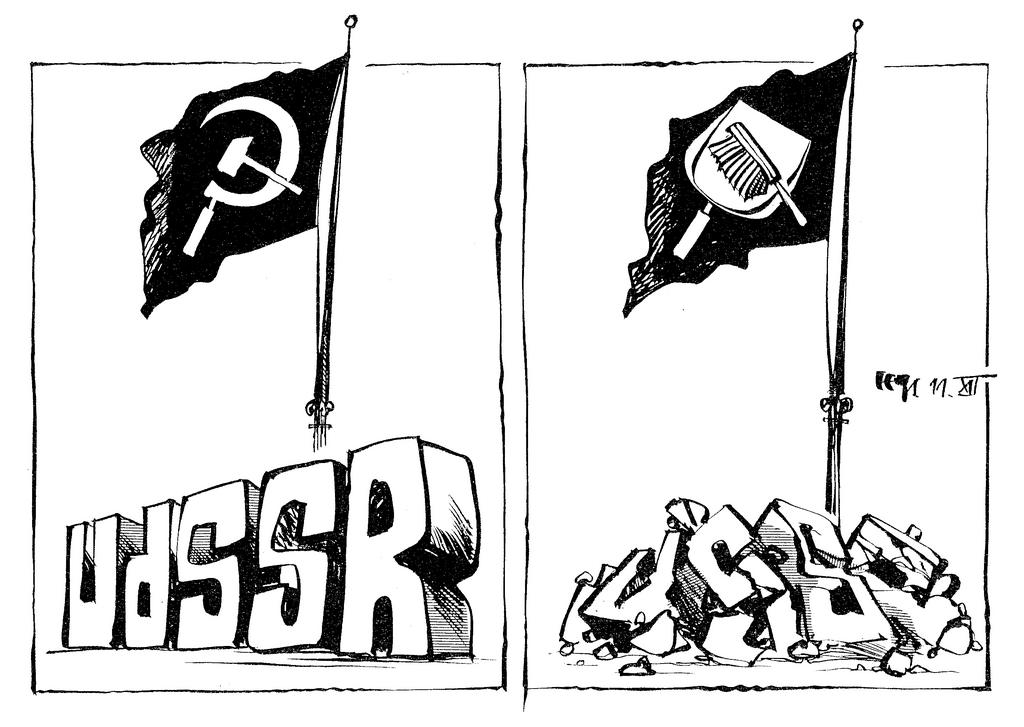 Cartoon by Haitzinger on the demise of the Soviet Union (11 December 1991)