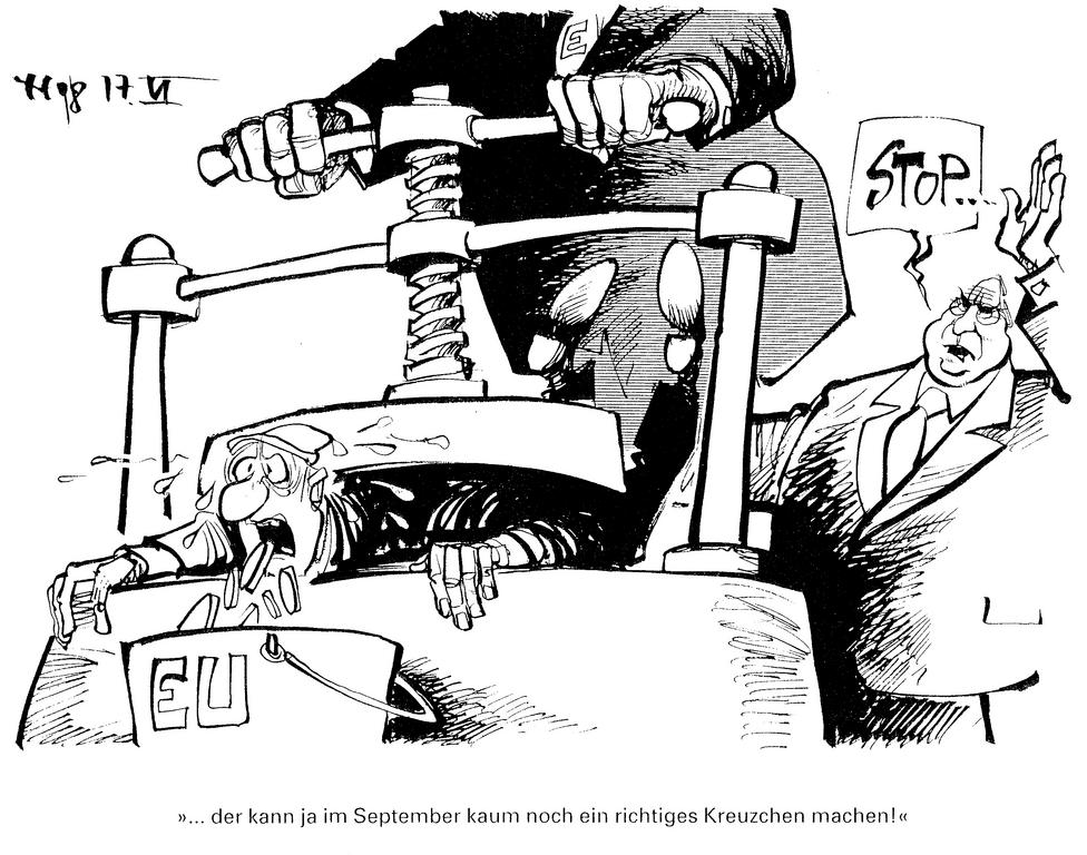 Cartoon by Haitzinger on the German contribution to the British rebate (June 1998)
