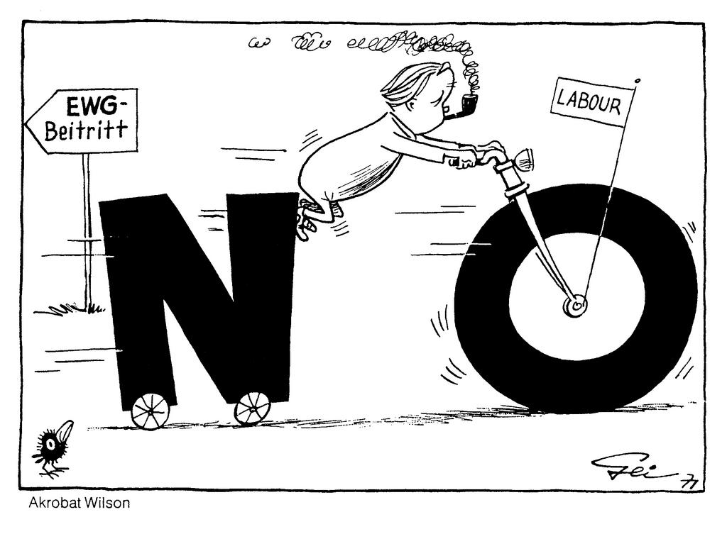 Cartoon by Geisen on the question of the United Kingdom's accession to the European Communities (1971)