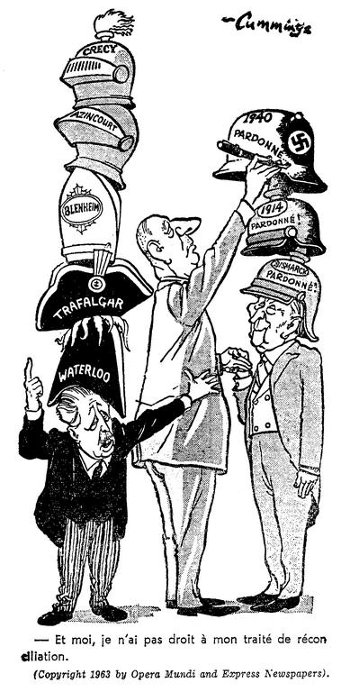 Cartoon by Cummings on the Franco-German Treaty of Friendship (7 February 1963)