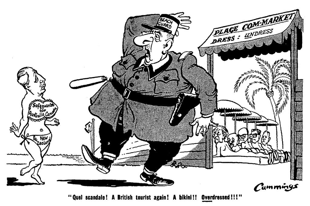 Cartoon by Cummings on the negotiations on British accession (10 August 1962)