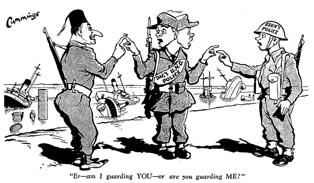 Cartoon by Cummings on the Suez Crisis (23 November 1956)