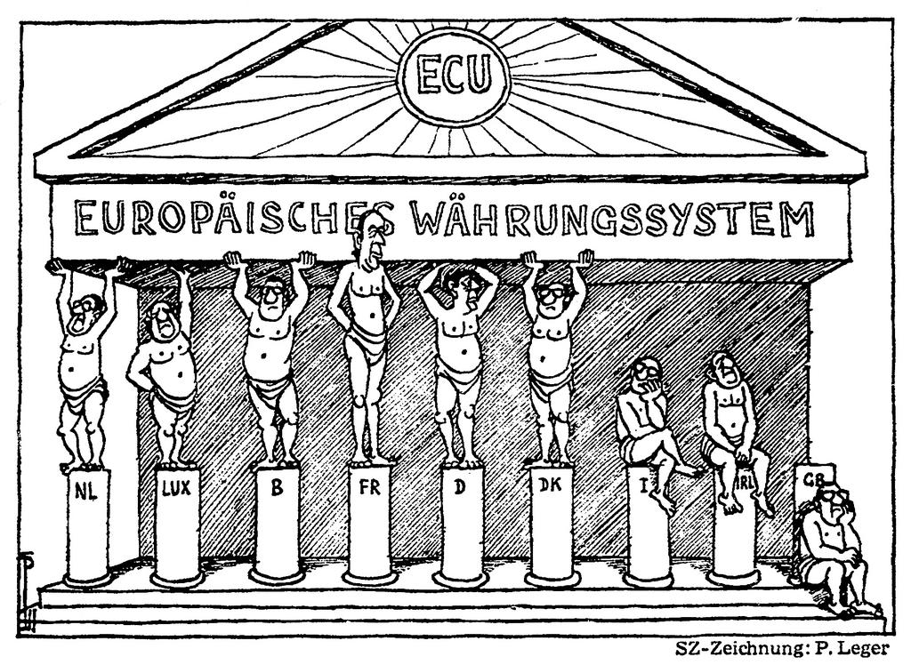 Cartoon by Leger on the establishment of the European Monetary System (8 December 1978)