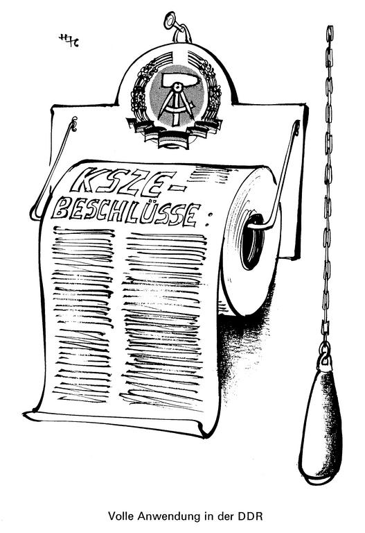 Cartoon by Haitzinger on the application of the CSCE resolutions (March 1976)