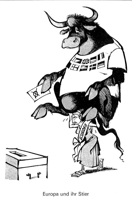 Cartoon by Haitzinger on the first elections to the European Parliament by direct universal suffrage (June 1979)