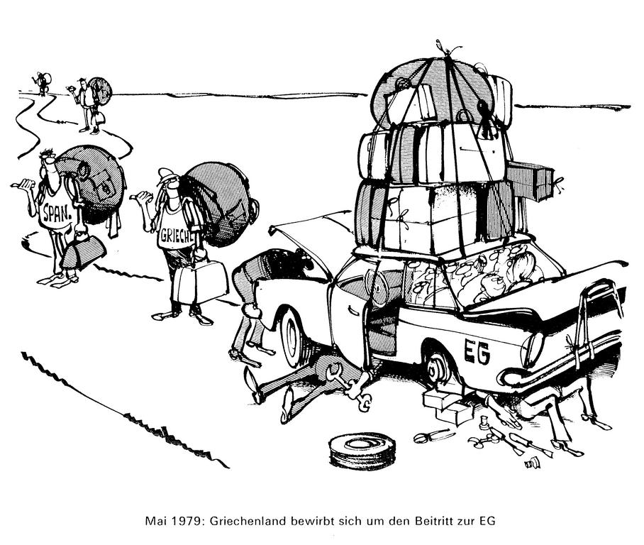 Cartoon by Haitzinger on Greece's accession to the European Communities (May 1979)